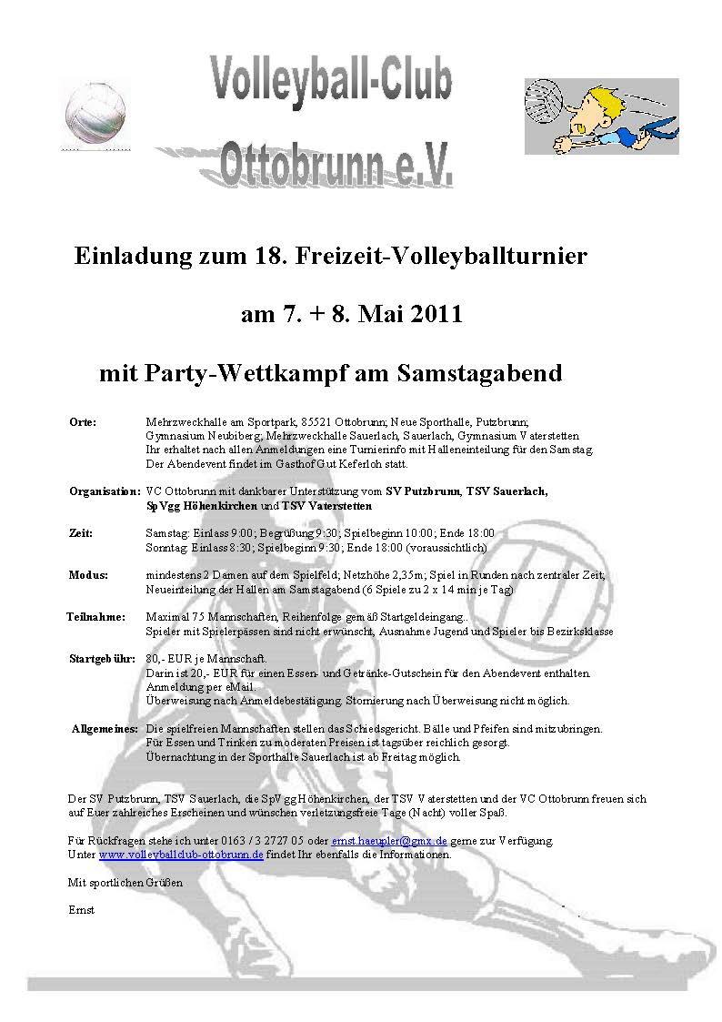 18. freizeit-volleyballturnier ottobrunn, Einladung